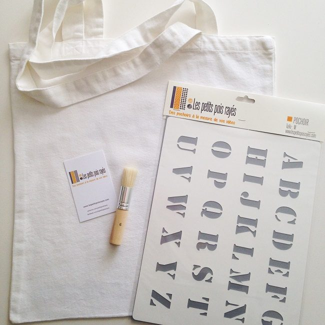 kit tote bag pochoir alphabet