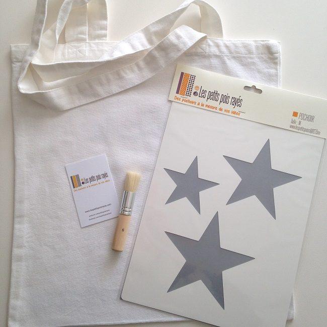 kit tote bag pochoir étoiles