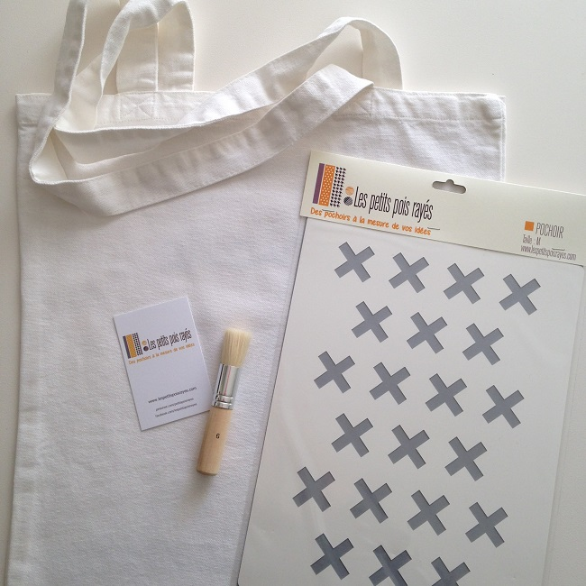kit tote bag pochoir croix