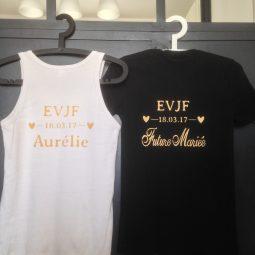 Tee-shirt personnalisé avec un pochoir EVJF pour la future mariée avec la date de l'événement