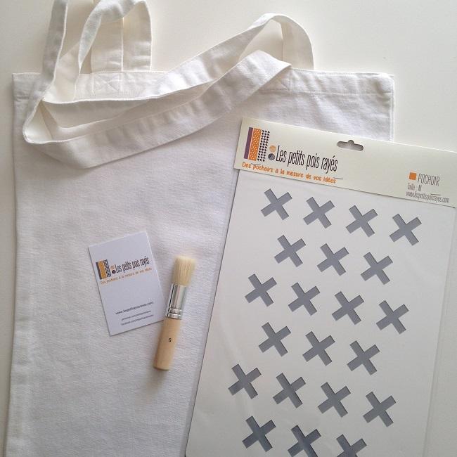 kit tote bag pochoir croix